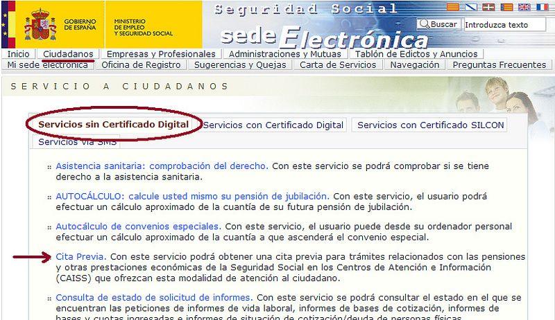 C mo pedir cita previa en la seguridad social adminf cil for Oficina certificado digital