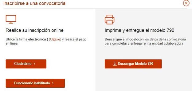 Inscripción en pruebas selectivas por Internet o presencial
