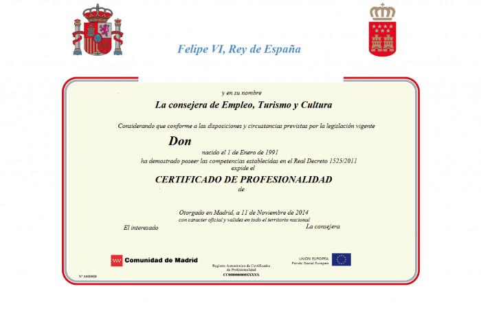 Título de certificado de profesionalidad oficial