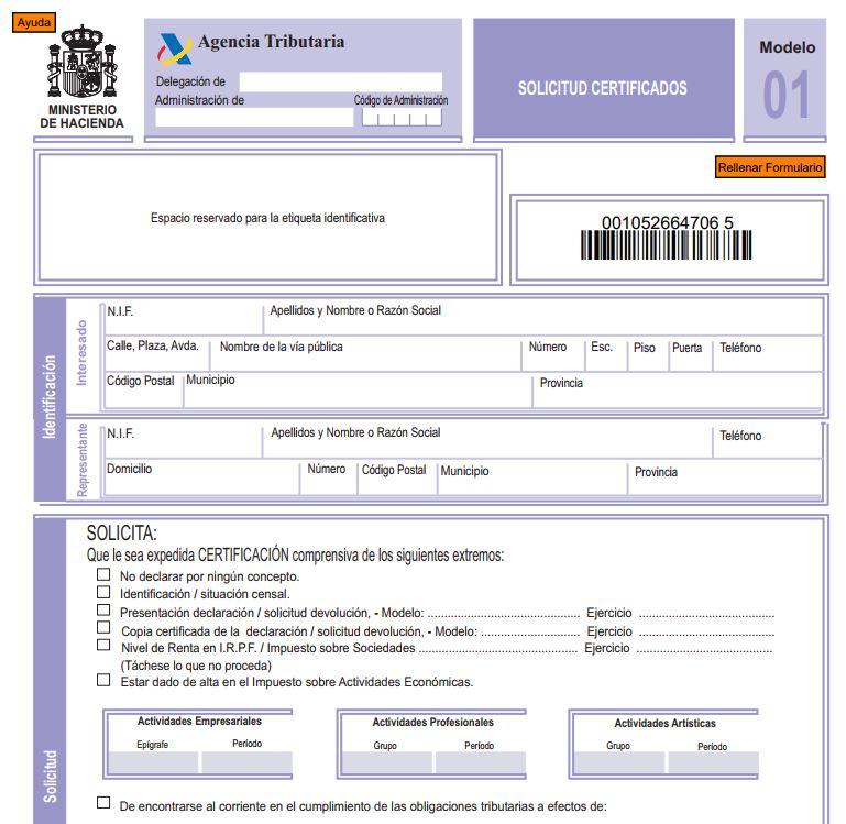 Modelo 01 Certificado Negativo de Hacienda