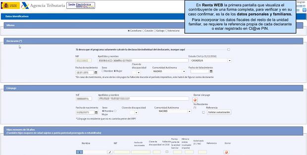 Renta Web datos personales