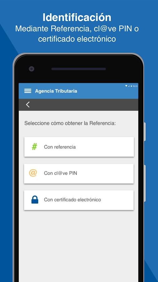 Identificación en la app Agencia Tributaria