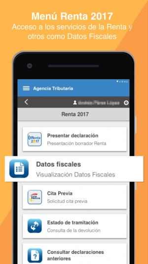 App Agencia Tributaria: Pantalla de la Renta