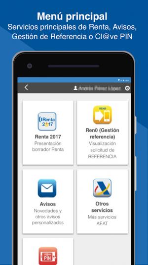 Servicios disponibles en la app Agencia Tributaria