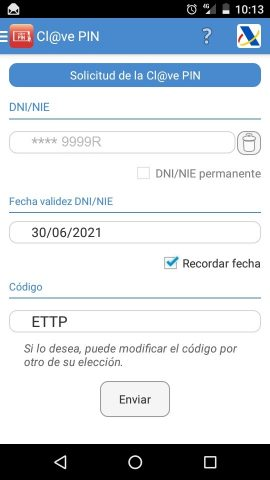 App Cl@ve PIN: Solicitud
