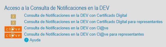 consulta de notificaciones en la DEV