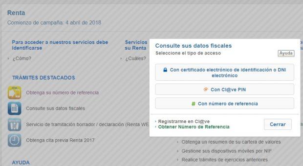 Consulta datos fiscales Renta Web