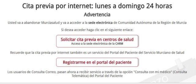 Cita previa en el SMS - Sistema Murciano de Salud